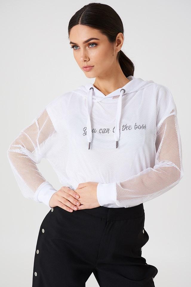 Oversized Mesh hoodie White
