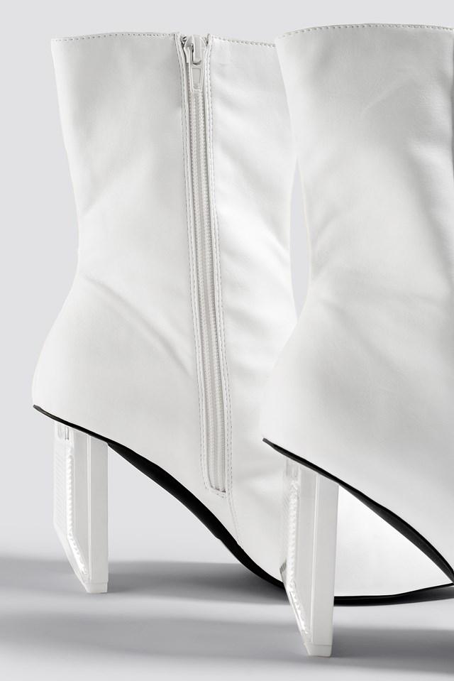 Asymmetric Heel Boots White