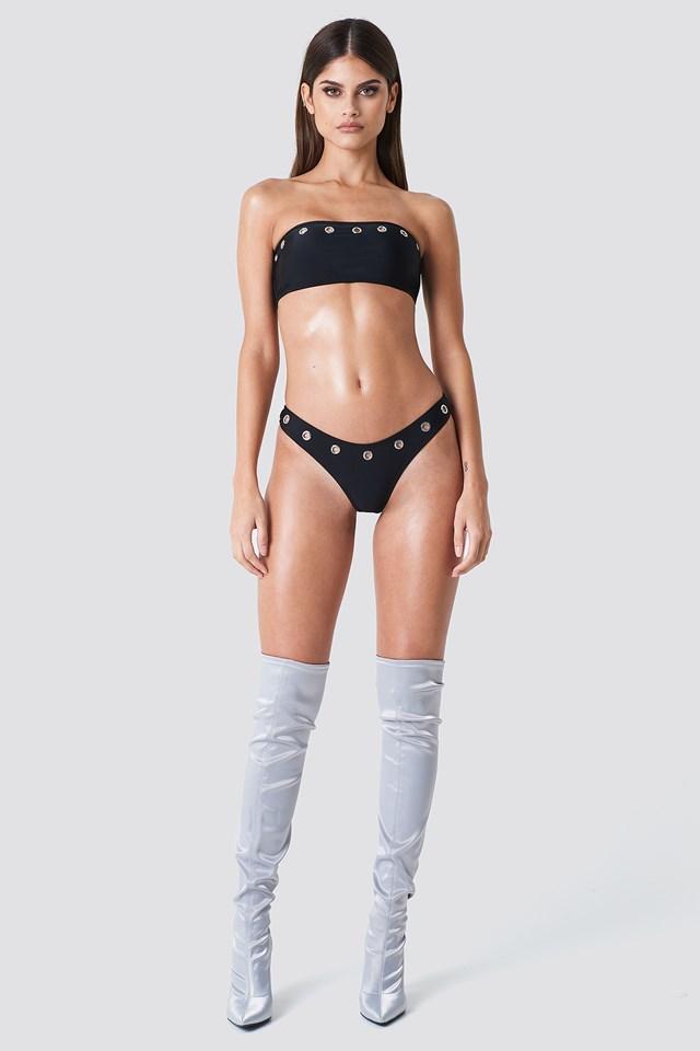 Eyelet Bikini Bottom Black
