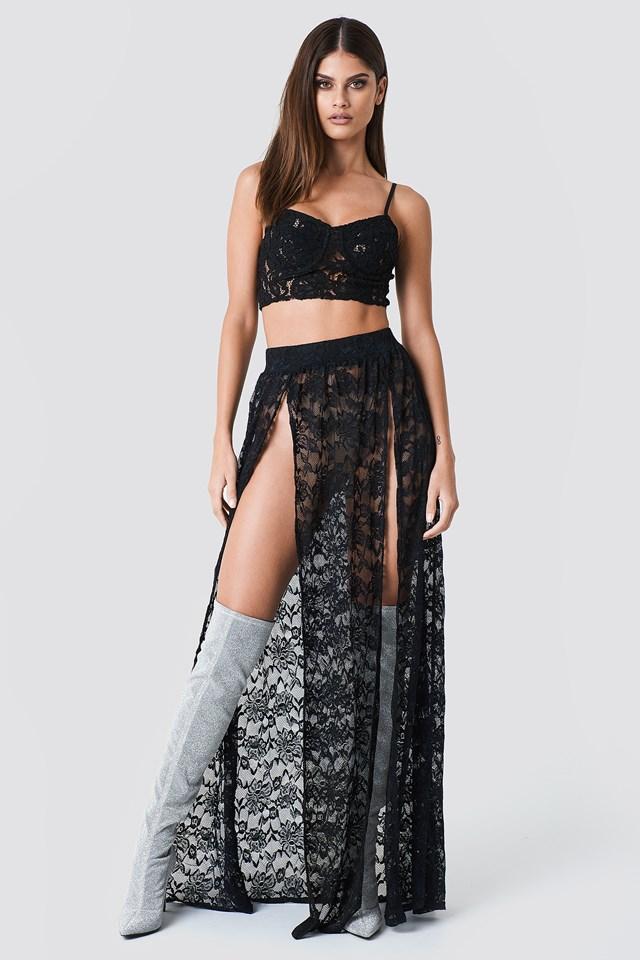 Lace Maxi Skirt Black