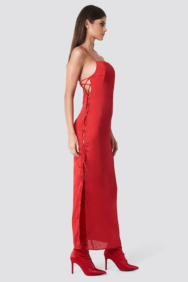 Long Satin Lacing Dress Red