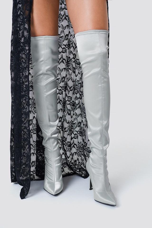 Satin Overknee Boots Silver