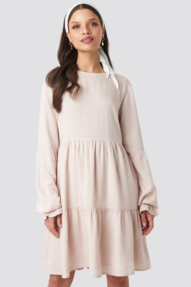 Basic Loose Fit Dress Nude Pink