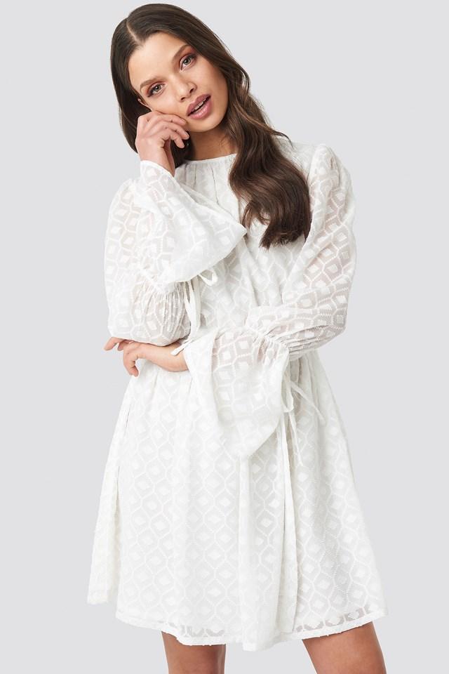 Bell Sleeve Flowy Mini Dress Off White