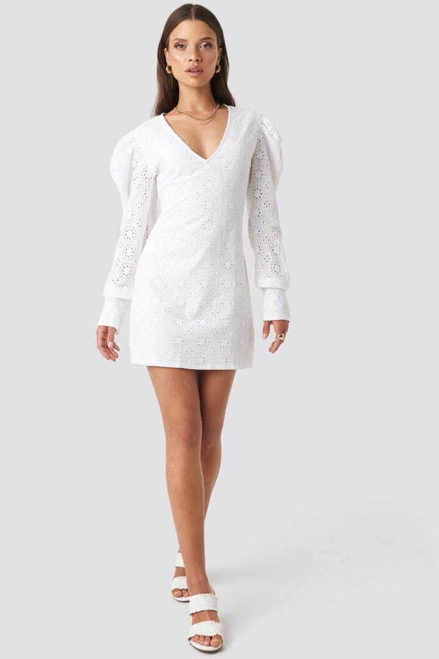Arielle Puff Sleeve Dress White Outfit