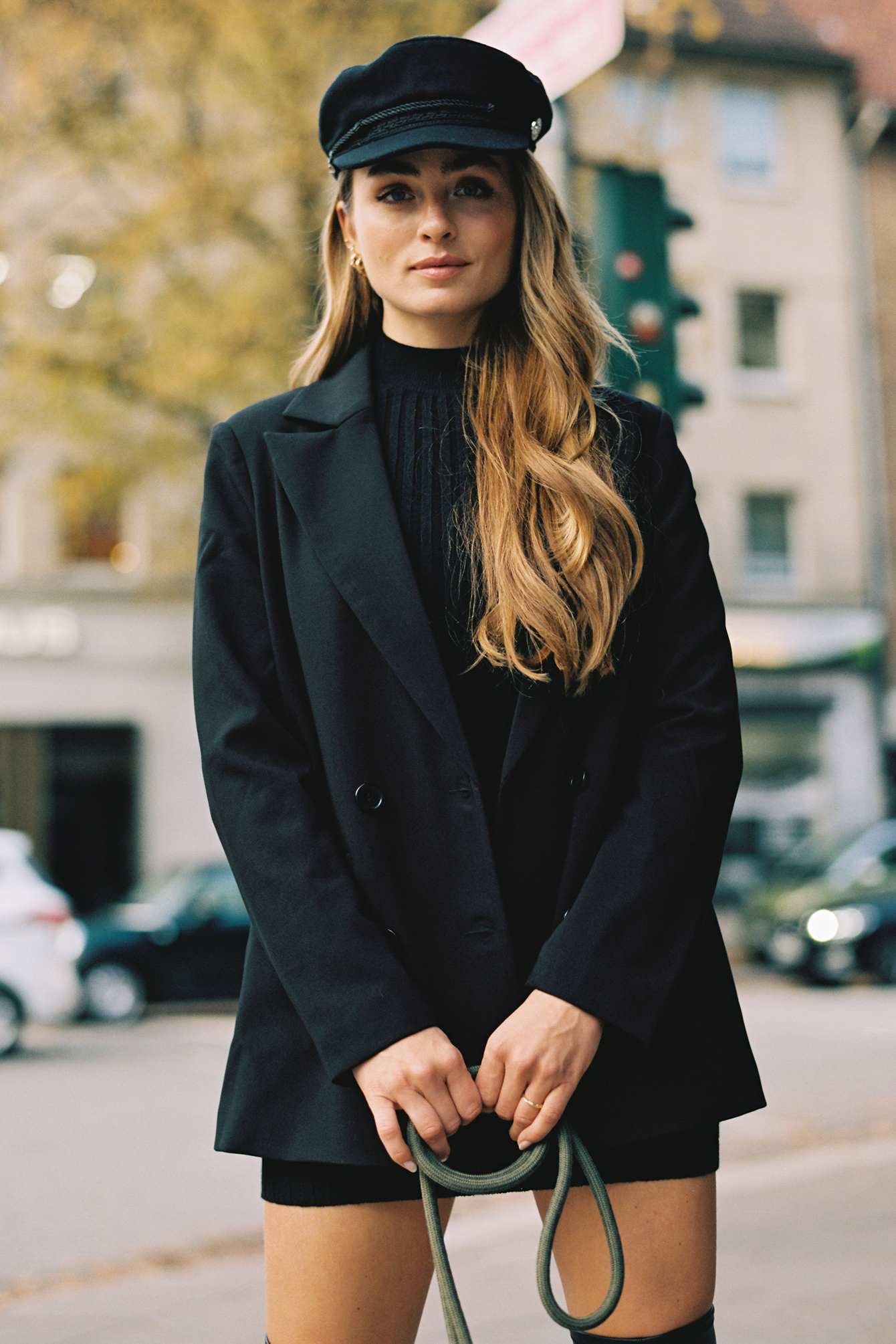 Black Oversized Double Button Blazer