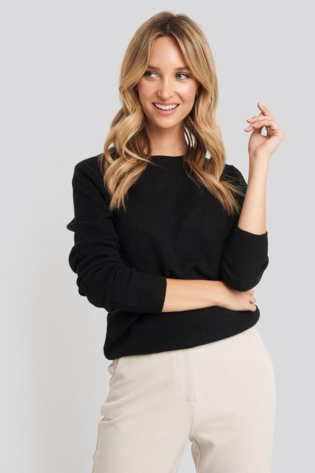 Pure Cashmere O-Neck Pullover Black