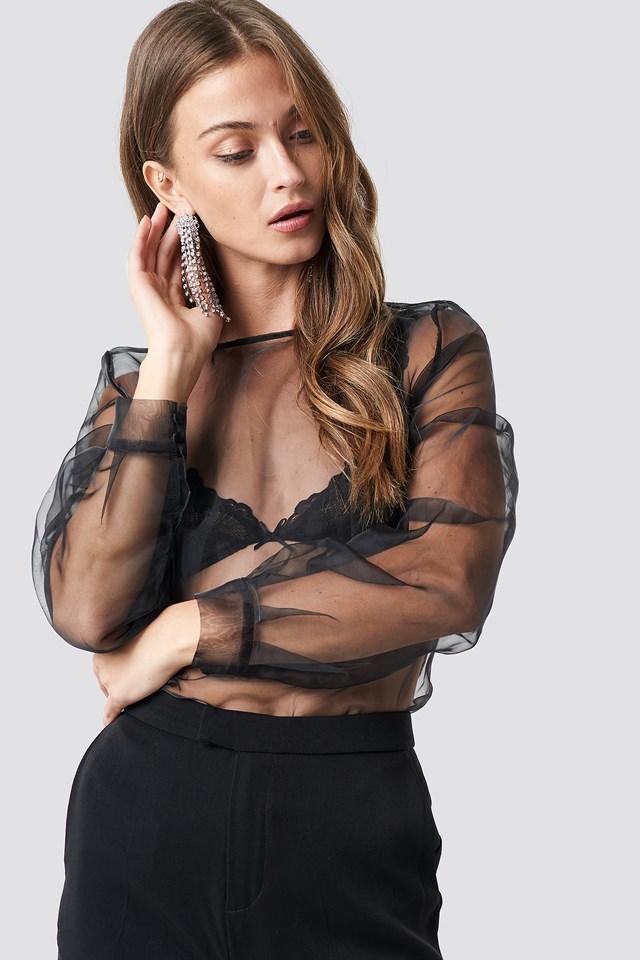 Long Sleeve Organza Top Black