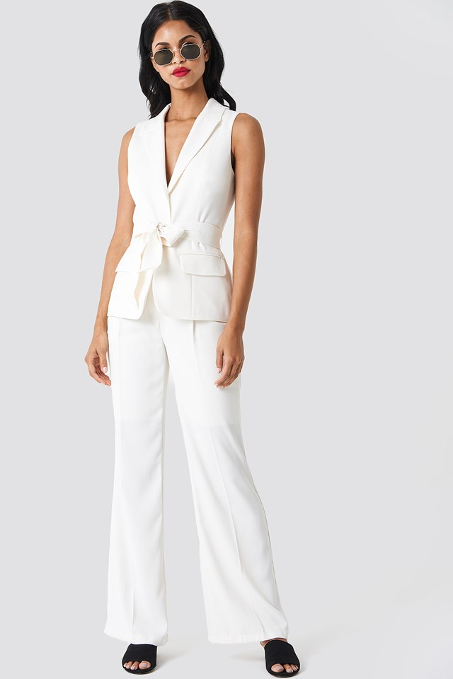 White Belted Vest