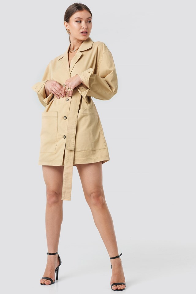 Belted Cargo Mini Dress Beige Outfit