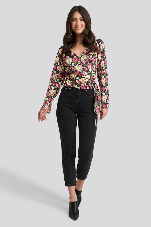 Sweetheart Neck Wrap Blouse Multicolor Outfit