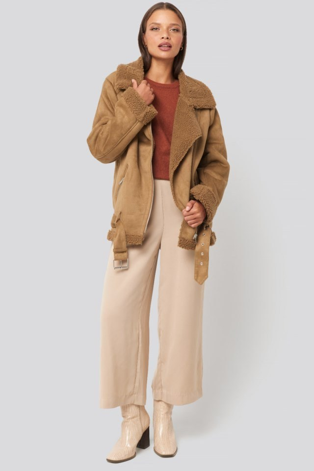 Fake Suede Bonded Aviator Jacket Brown Outfit