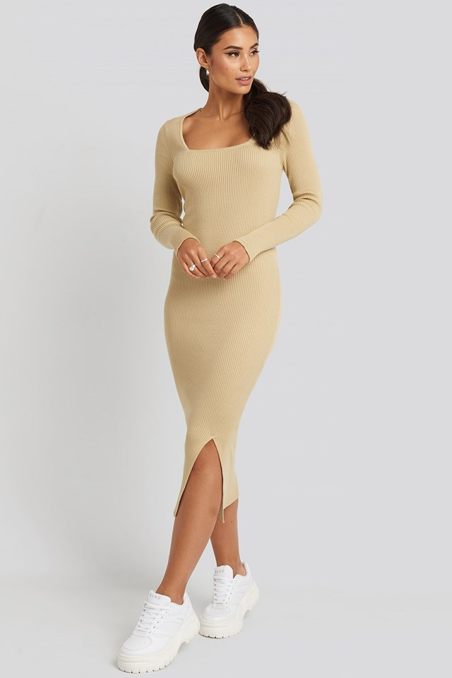 Square Neck Long Knit Dress Beige Outfit