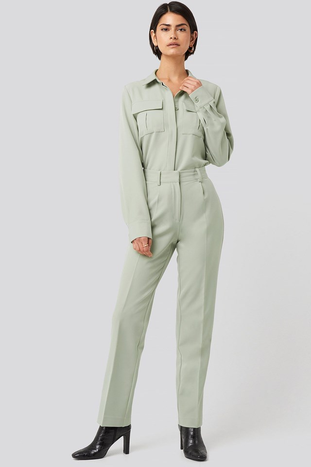 Creased Mid Rise Suit Pants Green Outfit