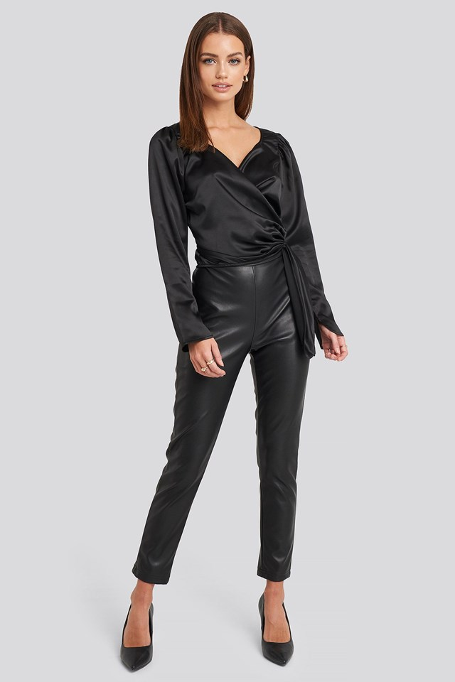 Sweetheart Neck Wrap Blouse Black Outfit