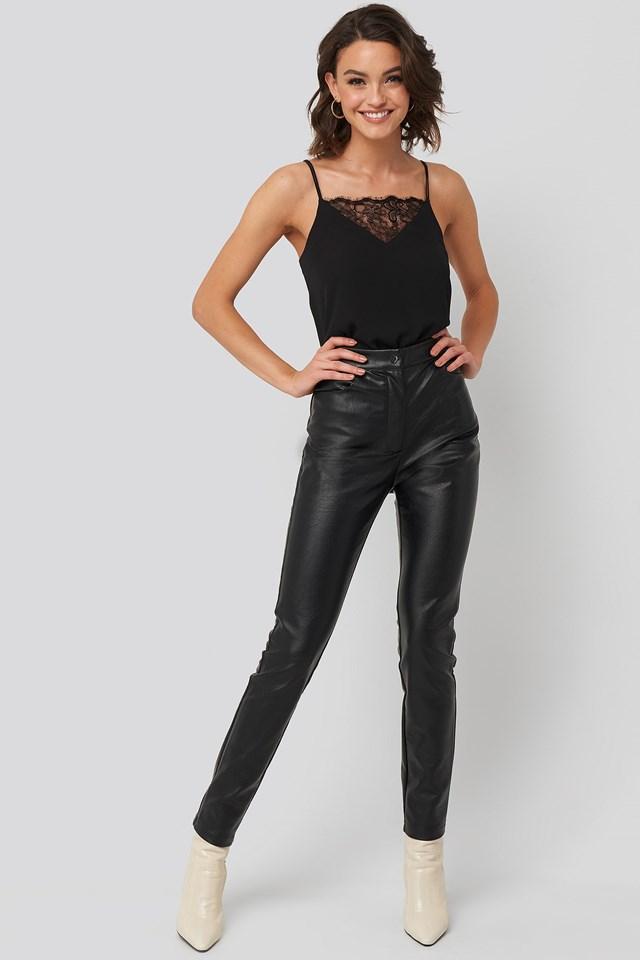 Lace Detail Singlet Black Outfit