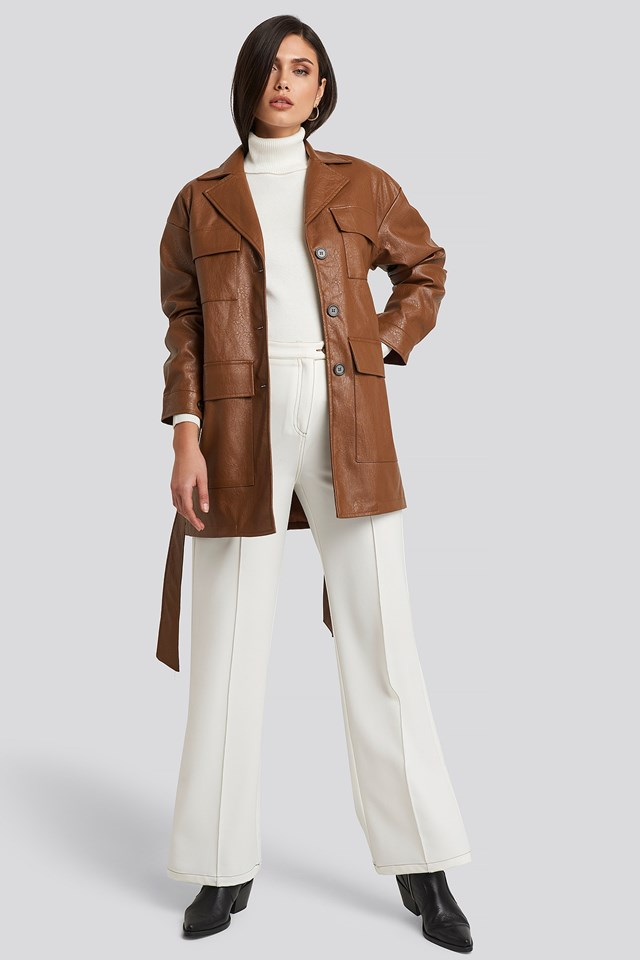 Power Shoulder Pu Jacket Brown Outfit
