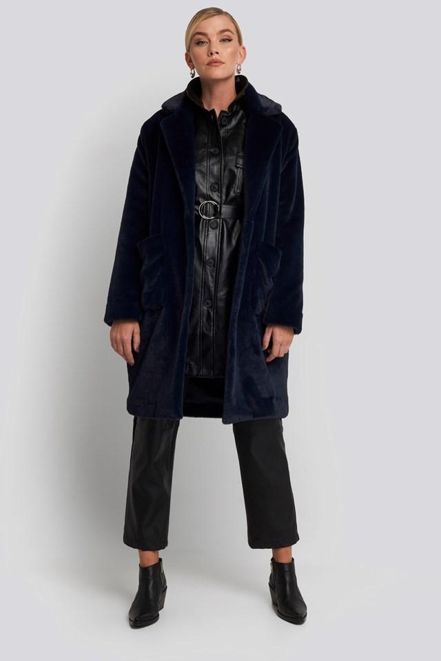 Akita Long Coat Blue Outfit