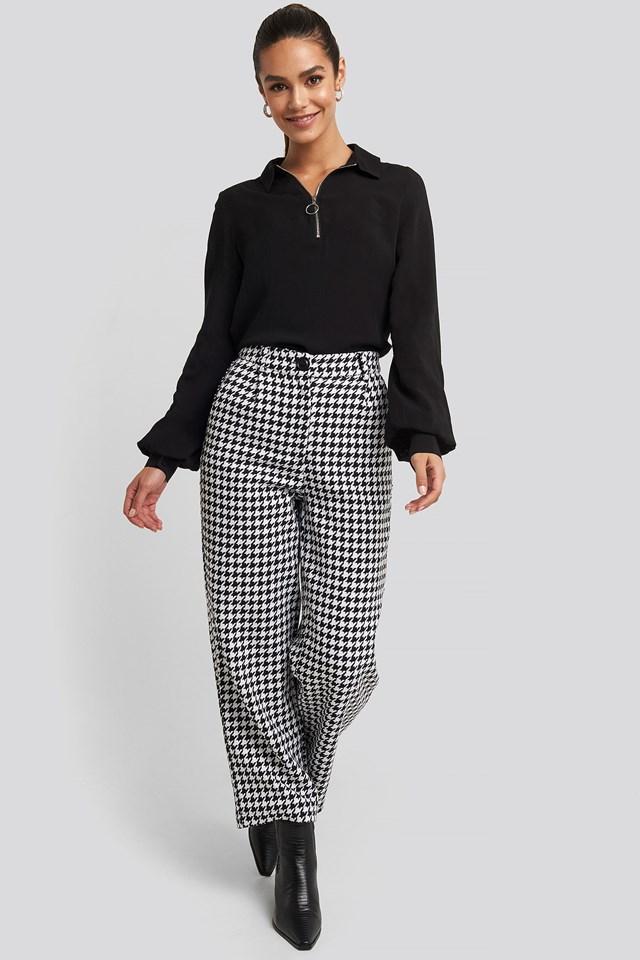 Zip Detail Blouse Black Outfit