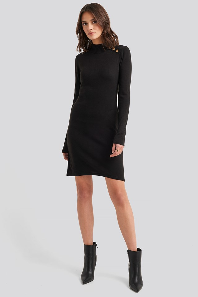 Button Detailed Sweater Dress Black Outfit