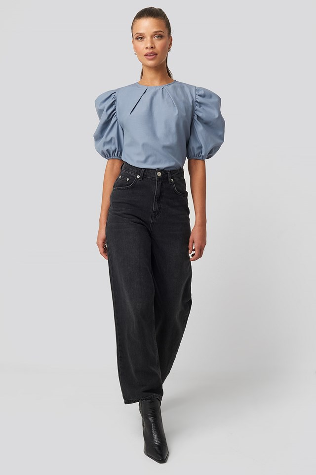 Puff Shoulder Short Sleeve Blouse Blue Outfit