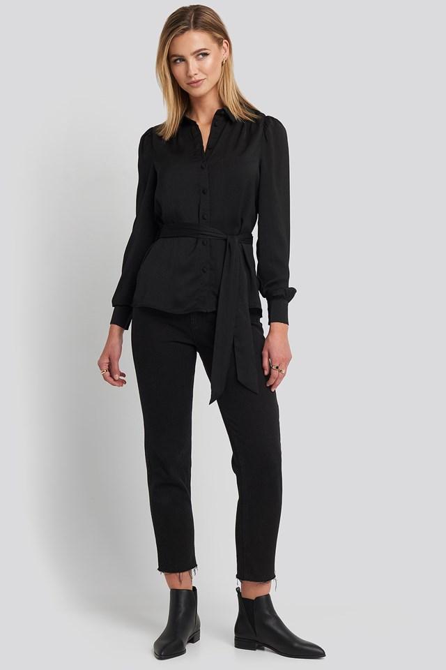 Satin Waistband Blouse Black Outfit