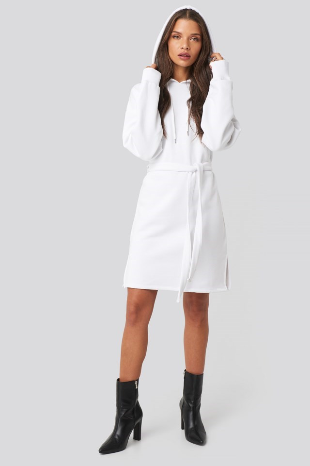 Belted Hoodie Dress White Outfit