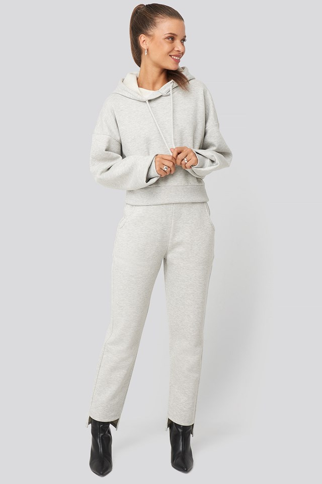 Cropped Basic Hoodie Grey Outfit