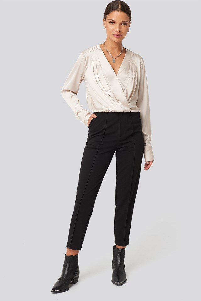 Overlap Gathered Satin Blouse Beige Outfit