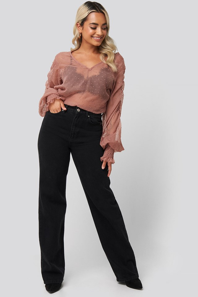 Shirred Dobby Blouse Pink Outfit