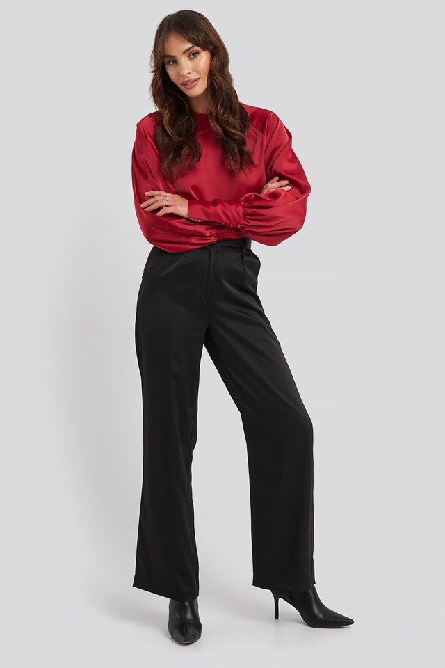 Cropped Satin Balloon Sleeve Blouse Red Outfit