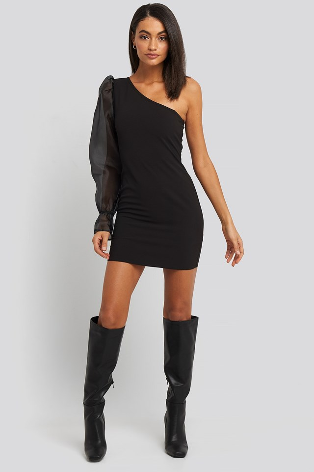 One Sleeve Puff Shoulder Dress Black Outfit