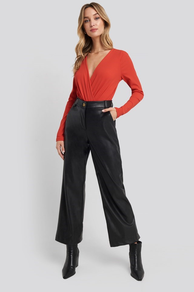 Ribbed Overlap Long Sleeve Body Outfit
