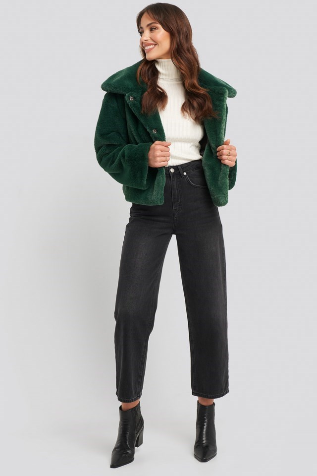 Elin Faux Fur Short Jacket Outfit