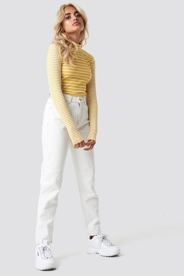 High Neck Top with Denim Jeans