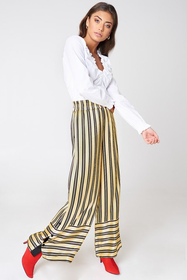 Gathered Neckline Top with Striped Pants