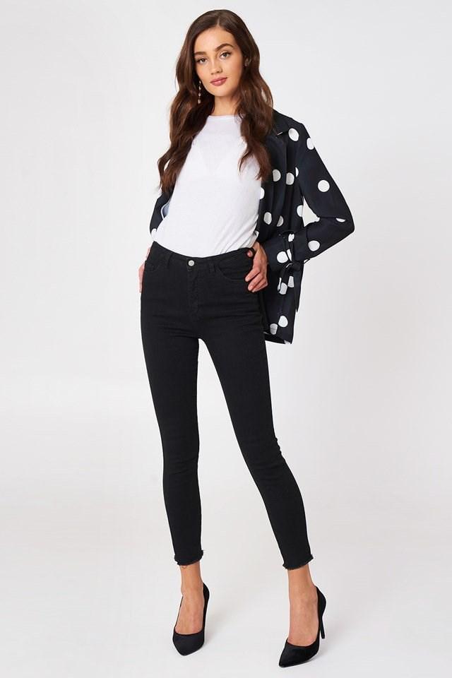 Black Fray Hem Jeans