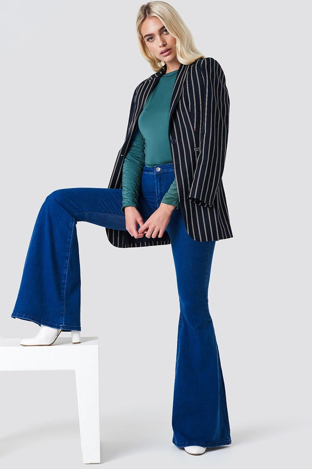 Bell Bottom Jeans and Blazer Outfit