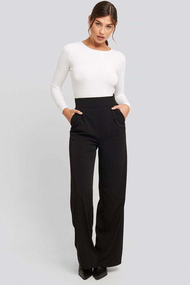 High Waisted Wide Leg Suit Pants Outfit.