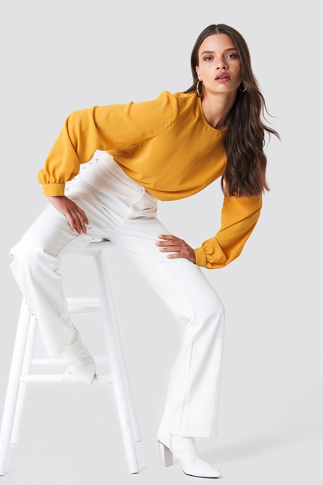 Back Button Blouse with Trousers
