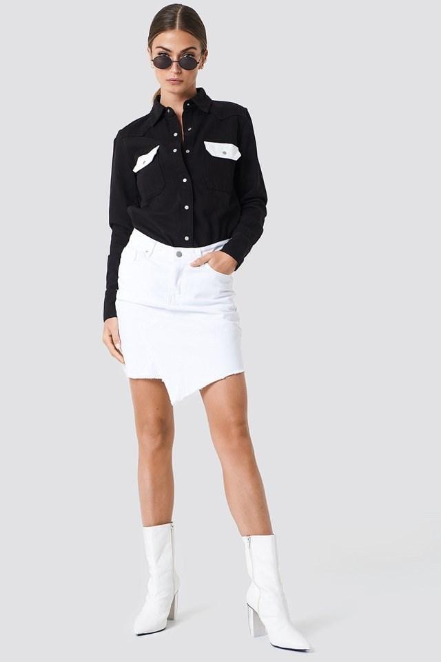 Contrast Shirt with Asymmetrical Shirt