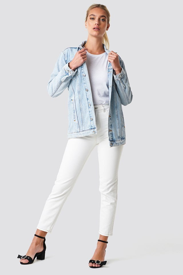 White Denim Jacket Outfit