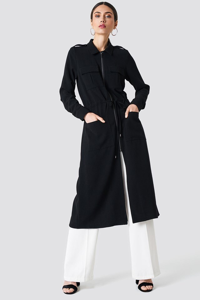 Black Midi Length Jacket Outfit