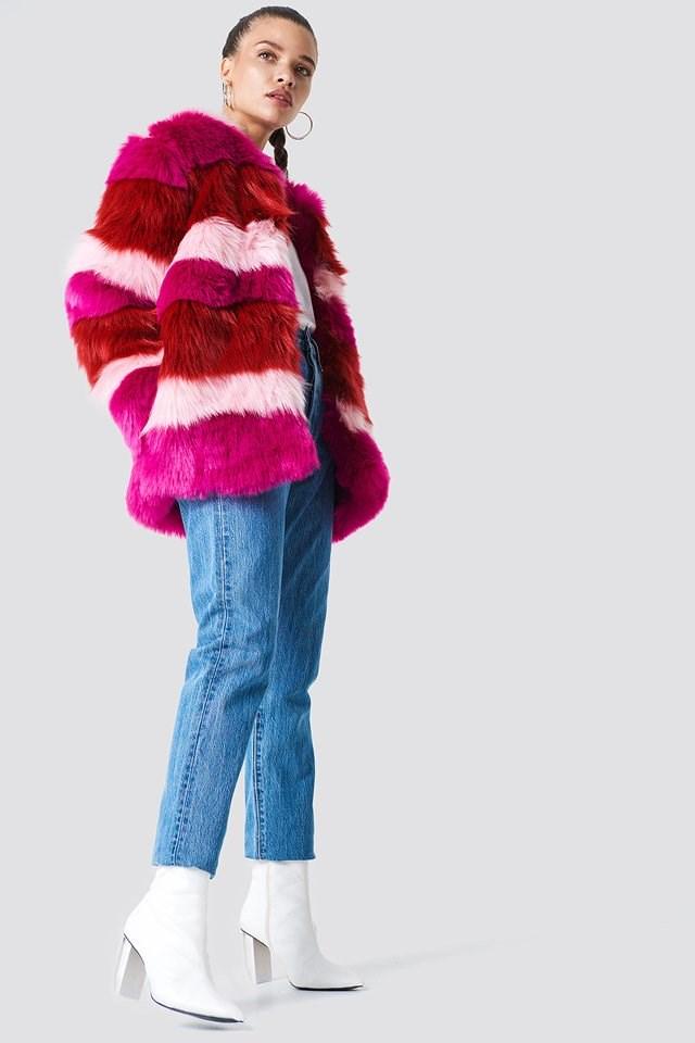 Multi Colour Faux Fur Jacket