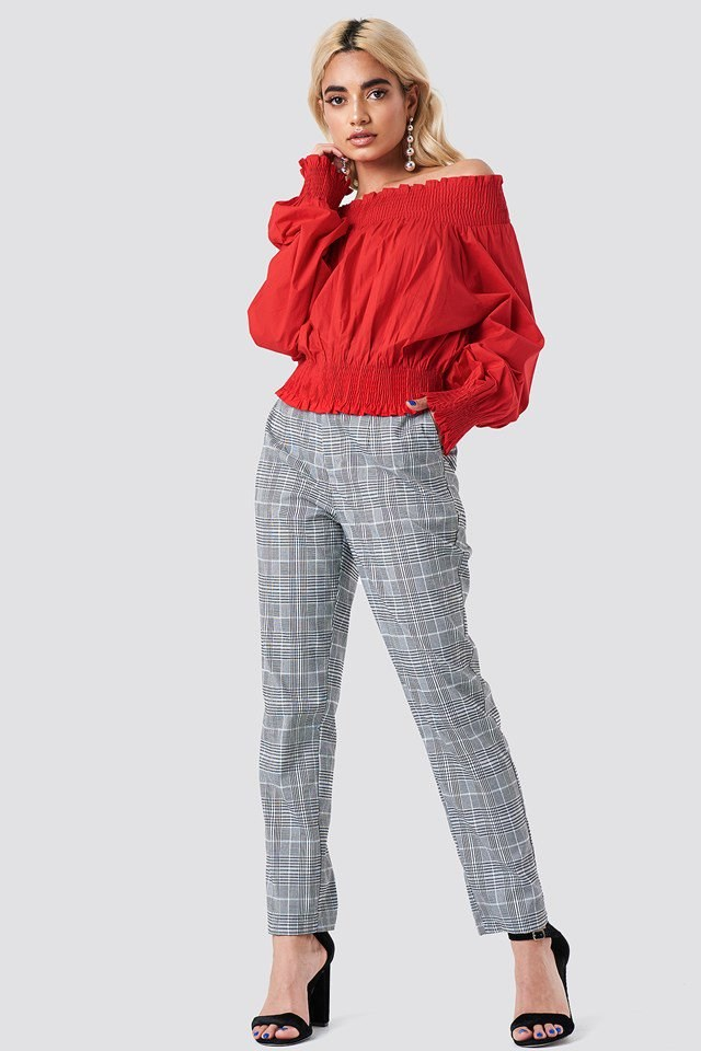 Balloon Sleeve Off Shoulder Blouse with Trousers