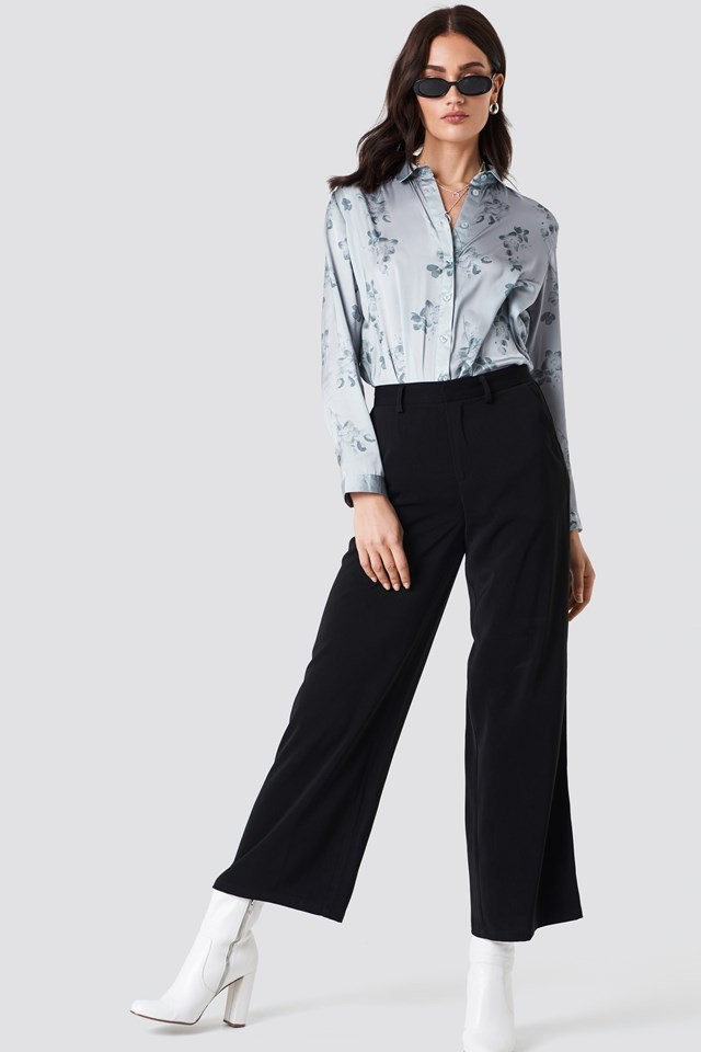 Long Sleeve Printed Shirt with Wide Trousers