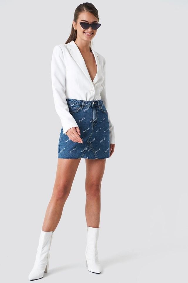 Blazer with Mini Skirt and High Heel Boots