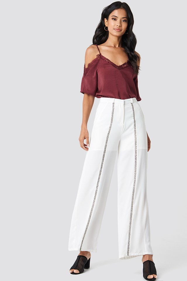 Lace Blouse with Stripe Trousers