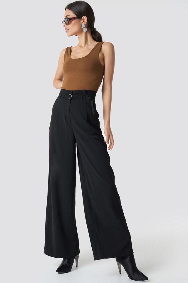 Paperbag Waist Pants with Tank Top