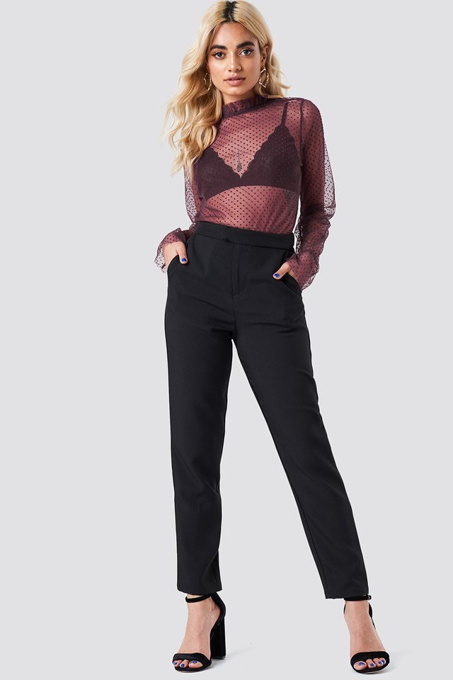 Dotted Mesh Top with Trousers